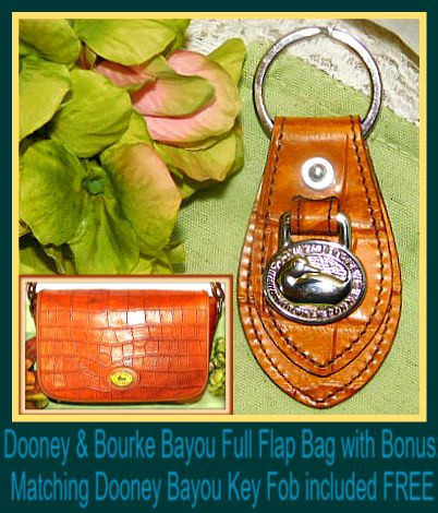 Rich Dahlia Butterscotch Dooney Bayou Full Flap Shoulder Bag & KeyRing