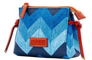 Chevron Denim Blues Coated Canvas & Leather Cosmetic Bag