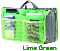 New! Ultimate Lime Green  Handbag Organizer Insert with Pockets- Lime Green  Handbag Organizer Insert with Pockets