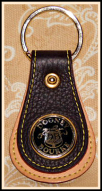 Black Licorice Vintage Dooney All Weather Leather Medallion Fob-Dooney and Bourke All Weather Leather