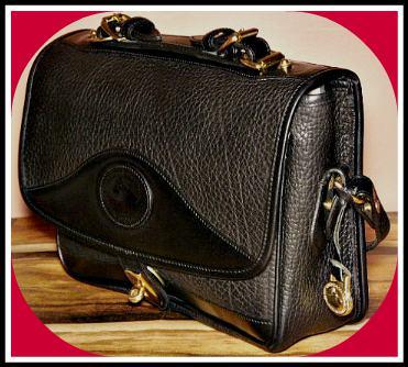 Bold Black Licorice Espresso Vintage Dooney Carrier Large Shoulder Bag