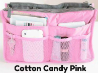 New! Ultimate Cotton Candy Pink Handbag Organizer Insert with Pockets-Ultimate Cotton Candy Pink Handbag Organizer Insert with Pockets