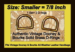 Vintage Dooney Brass D-Ring Set for 7/8-inch Strap-Vintage Dooney Brass D-Ring Set for seven eighths-inch Straps,