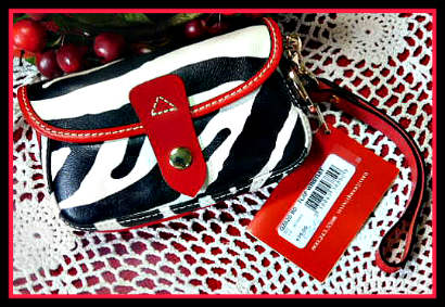Zebra Embossed Leather Flap Wristlet