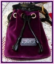Popping Purple Hyacinth Dooney Mini Drawstring Velvet Bag-Dooney Mini Drawstring Velvet Bag, Vintage Dooney and Bourke  Mini Drawstring Bag,  Shoulder/Cross Body Bag