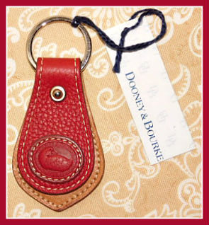 Scarlet Cherry Red New Dooney Duck Key Fob-Dooney and Bourke All Weather Leather