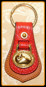 Blush Hollyberry Red Vintage Brass Dooney Duck Fob-Vintage Brass Dooney Duck Fob,Dooney and Bourke All Weather Leather