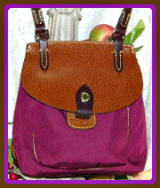 Luscious Wine Leather & Nylon Saddle Bag Dooney Bourke New!-Leather & Nylon Saddle Bag Dooney Bourke