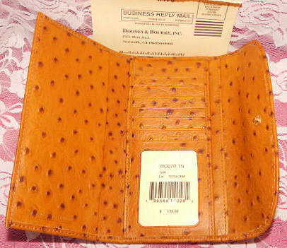 COGNAC Ostrich Dooney Bourke Leather Continental Clutch NEW!
