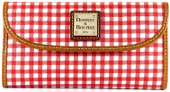 McIntosh Apple Red Gingham Dooney Clutch Wallet- Dooney & Bourke   Continental Clutch Wallet  Red Gingham Coated Canvas
