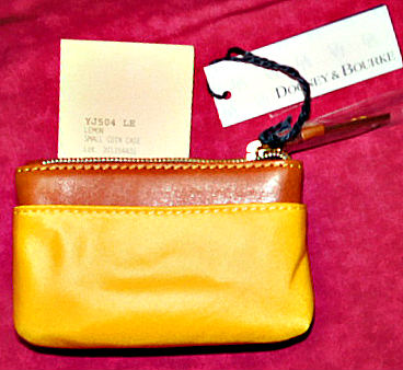 Lemon Yellow Small Coin Purse with Keychain NEW!