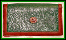 Fresh Fir Green Dooney & Bourke AWL Checkbook Cover-Fir Green Dooney & Bourke AWL Wallet with Coin Purse, Exqusite Green & British Tan Dooney Billfold with CheckBook & Coinpurse All in One,Dooney wallet, Dooney billfold, Dooney organizer, nopin