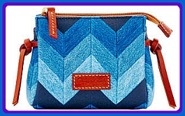 Full Toned Cornflower Blue Medley Dooney Chevron Cosmetic Bag-Chevron Denim Blues Coated Canvas & Leather Cosmetic Bag,Dooney Chevron Cosmetic Bag