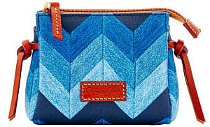 Dooney and Bourke  Brand New!!!  Chevron Denim Blues Coated Canvas & Leather Cosmetic Bag
