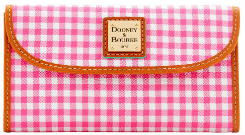 Dooney Bourke  Pink Gingham Continental Clutch Wallet