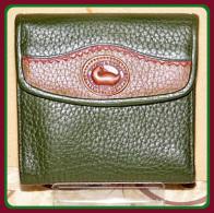 Enchanting Deep Sage Green & Wine Dooney Teton Credit Card Wallet-Vintage Dooney and Bourke AWL  Teton Collection  Credit Card Wallet