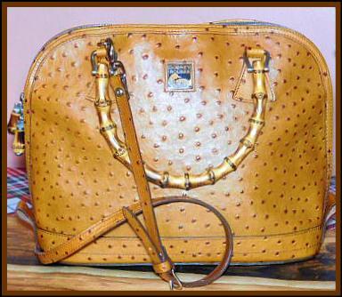 Vintage Dooney Zip Zip Ostrich Satchel Shoulder Bag