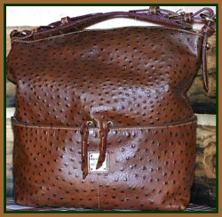 Chocolate Cappuccino Dooney Ostrich Large Shopper Handbag