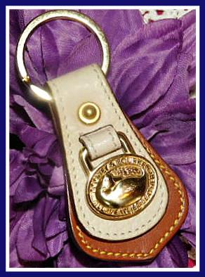 Vintage Dooney Bourke AWL  Bone & Tan Duck Key Fob