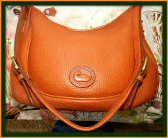 Luscious Curvaceous Large Vintage Dooney Crescent Sac-Dooney and Bourke All-Weather Leather  Large Crescent Sac