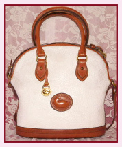 White Chiffon Lace Vintage Dooney Norfolk Satchel Shoulder Bag-Vintage Dooney Norfolk Satchel Shoulder Bag