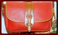 Wild Berry Red Equestrian Bag Vintage Dooney AWL-Vintage Dooney and Bourke, All-Weather Leather,