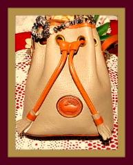 Earthy Sandstone Thistle Vintage Dooney Drawstring Bag-Drawstring Dooney Bourke bag,Mini Drawstring  Shoulder Tote Bag, AWL