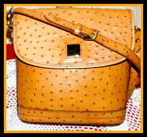 Antique Buttercream Ostrich Dooney Flap Shoulder Bag