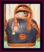 Radiant Navy Blue Dooney Norfolk Shoulder Bag Satchel-Navy Blue Dooney Norfolk Shoulder Bag Satchel