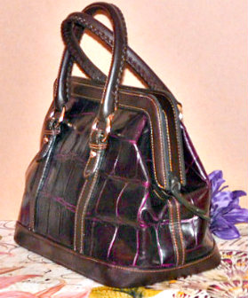 Deep Delicious Merlot Dooney Croc Large Satchel