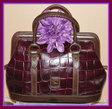 Deep Delicious Merlot Dooney Croc Large Satchel-Vintage Dooney and Bourke