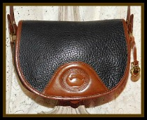 SOLD! Licorice Black & Dark Chocolate Flap Bag Vintage Dooney Shoulder Bag-Vintage Dooney and Bourke