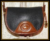 SOLD! Licorice Black & Dark Chocolate Flap Bag Vintage Dooney Shoulder Bag-Vintage Dooney and Bourke  All-Weather Leather AWL  Vintage Flap Bag