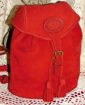 Bold Cherry Berry Red Vintage Dooney Nubuck Back Pack-Vintage Dooney and Bourke, nubuck, suede,