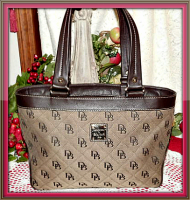 Spectacular Antiqued Russet Signature Anniversary Satchel Cloth & Leather-Dooney & Bourke Signature Collection 