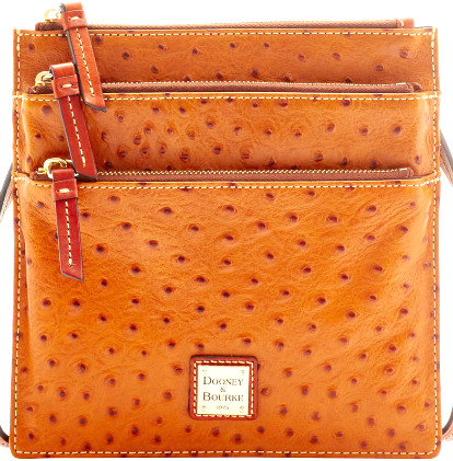 Dooney & Bourke  North/South Triple Zip Shoulder Bag/Crossbody Bag    Ostrich