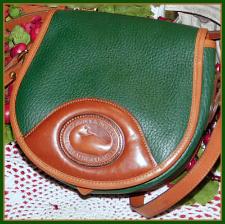 Captivating Evergreen & Chestnut Vintage Dooney Saddle Bag-Vintage Dooney Saddle Bag, Ivy Green Dooney and Bourke saddle bag handbag