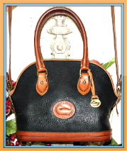 Botanical Dark Ivy Norfolk Vintage Dooney Satchel & Shoulder Bag-Dooney Trademark pebbled All-Weather Leather®, Vintage Dooney and Bourke All-Weather Leather,