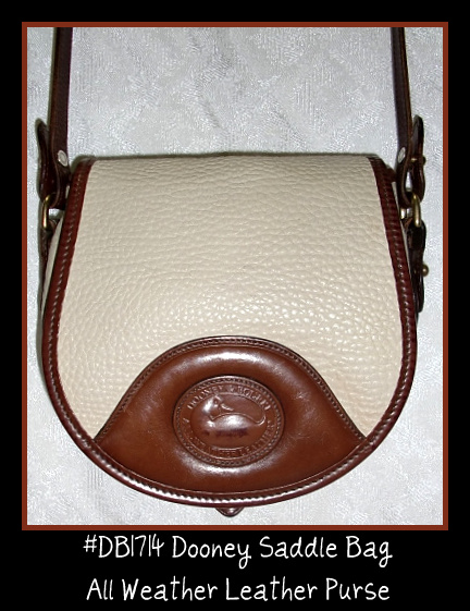 SOLD! Dooney & Bourke All Weather Leather Saddle Crossbody or Shoulder Bag- Dooney, Bourke, All Weather Leather, Saddle, Saddle Bag, Dooney Saddle, Crossbody,Shoulder, Creme color, ivory color, Burnt Cedar, Saddle Bag Purse, Vintage, Vintage purse, Vintage Dooney, Excellent Pre-owned, duck seal, leather purse, leather bag, duck fob, brass duck fob, Vintage Dooney bag, Dooney , removable shoulder strap, crossbody bag,, nopin