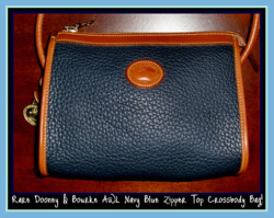 New Navy Blue Mini Zip-Top AWL Dooney & Bourke Bag-New Navy Blue Mini Zip-Top AWL Dooney & Bourke Bag,Dooney and Bourke, All Weather Leather, Navy Blue, Zipper Top, Crossbody Dooney, Mint Dooney,Dooney and Bourke All Weather Leather, Zipper Top Purse, special occassion bag, leather, dooney style, popcled all weather leather, leather strap, duck seal, duck fob, brass duck fob, purse, cross body purse,, nopin