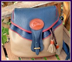 Prized Vintage Dooney Tri-Colored Teton All Weather Leather Shoulder Bag-Rare Vintage Dooney Tri-Colored Teton Collection, All Weather Leather Shoulder Bag