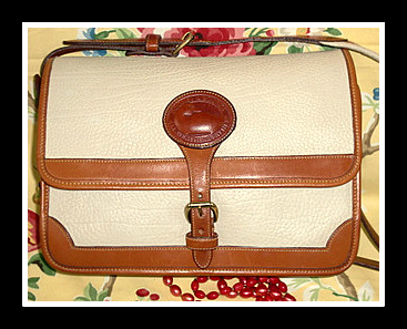 In Vogue Vintage Dooney Large Surrey Bag in Bone & Tan-Dooney and Bourke