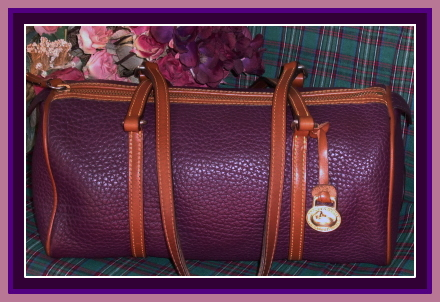 Snazzy Deep Dripping Plum Purple Dooney AWL Barrel Bag-Eggplant Purple Dooney AWL Barrel Bag,Dooney and Bourke,