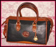Majestic Black Beauty Vintage Dooney Satchel Shoulder Bag-Authentic Dooney and Bourke, All-Weather Leather, Black and Tan  ,Satchel Vintage Dooney