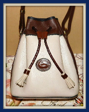 Regal Antique Linen Teton Drawstring Vintage Dooney Bag-Vintage Dooney and Bourke