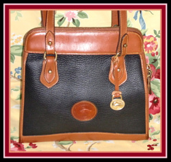 Regal Black & Tan Classic All Weather Leather Shoulder Bag-Dooney and Bourke ,vintage dooney satchel,