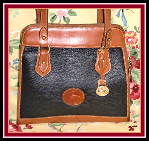 Snappy Black Licorice Vintage Dooney Zipper Top Satchel Shoulder Bag-Dooney and Bourke ,vintage dooney satchel,