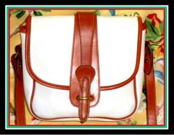 Lovely White & Tan Equestrian Binocular Dooney  Bag-Lovely, White, Tan, Equestrian, Binocular, Bag,