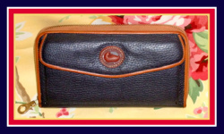 Very Nice Navy & Tan Zip-Along Wallet Dooney Purse-Very, Nice, Navy, Tan ,Zip-Along, Wallet, Dooney, Purse,, nopin