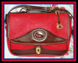 Like New Red Dooney & Bourke All Weather Leather Shoulder Bag-Nearly New, Red ,Dooney & Bourke, All, Weather, Leather ,Shoulder Bag, Carrier Bag, Dooney Carrier, vintage dooney carrier